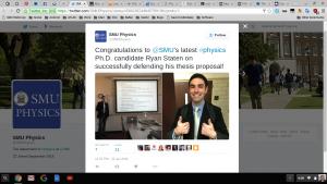Congratulations to newly minted SMU PhD candidate, Ryan!